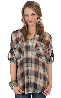 Karlie® Women's Tan & Navy Plaid 3/4 Sleeve Chiffon Fashion Top
