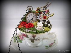 Alice in Wonderlands White Rabbit Tea Cup Garden.