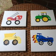 Footprint Canvas art (tractor, fire truck, dump truck and race car). Perfect for boys transportion themed room.