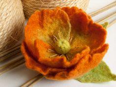 Orange Flower - Felt Brooch. $26.00, via Etsy.
