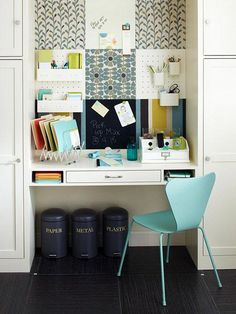 Home Office Decorating Ideas | SocialCafe Magazine. Love the accent colors and the scrapbook paper mounted on the walls.