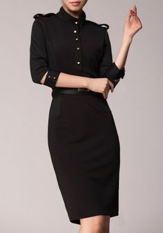Black Plain Belt Seven's Sleeve Cotton Blend Vintage Dress