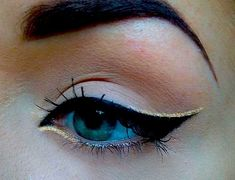 Black and gold. eye makeup, cat eyes, black cats, beauti, black gold, winged eyeliner, eye liner, gold accents, crazy eyes