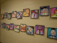 """Snowmen"" , the students worked on value, analogous colors, cropping and composition. winter art, art project, school, art idea, snowmen, 3rd grade art lesson ideas, snowman, lessons for 3rd grade, art rooms"