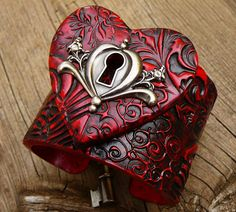 The key to my heart polymer clay cuff.