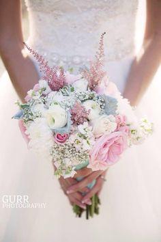 ranunculus, garden rose, blush, white, astilbe, rose, dusty miller, stock flower, babys breath