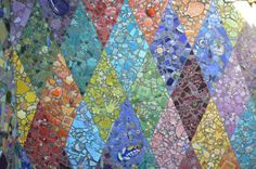 Mosaic diamond mural.. Found objects..