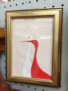 Bird textile framed.
