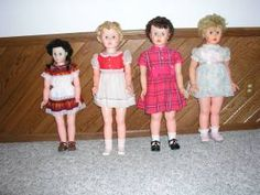 Remember the walking dolls from the '60s?  They walk in front of you and you hold their hands as they walk...although rather stiffly...knees didn't bend!! CREEPY!!!!!!!!