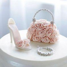 <3 shoe and handbag cake