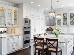 Traditional White Kitchen With Eat-In Island : Designers' Portfolio : HGTV - Home & Garden Television