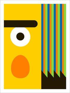 "Minimalist Bert screenprint, ""The Streets - Number 2"" by Thom Pastrano."