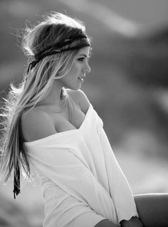 long hair and head band