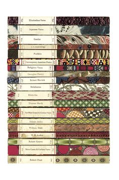 Postcards From Penguin:100 Book Jackets in One Box - Spines of Penguin Poetry Series, 1963. Majority of covers by Stephen Russ.