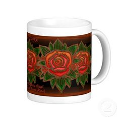 Copper Rose (Personalized Mug) - This beautiful ceramic mug features an original painting by digital artist, Leslie Sigal Javorek, of a copper-foiled stained glass rose w/ antiqued patina against a rich brown background. 3 custom text fields in center to personalize however you wish. Great gift for Mother's Day (see matching card @ www.zazzle.com/icondoit/copper+gifts?rf=238155573613991097), Birthdays, or any other occasion! #dishes #mug #flowers #customizable
