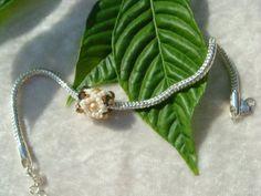 Brown and beige large hole handmade bead or by LittleGemsandMore, $4.00
