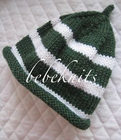 Hand Knit  Michigan State Green and White Stripe Baby by bebeknits, $22.00