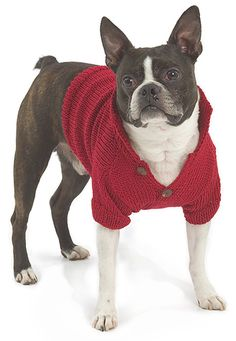 Free knitting pattern to make a dog sweater.