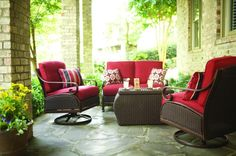 Martha Stewart Living's Cedar Island patio set has a classic wicker design with generously cushioned seats. Talk about being entertainment-worthy!