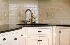 #Kitchen Idea of the Day: Creamy subway tile backsplash behind the sink... More Backsplash Ideas. traditional kitchens, backsplash ideas, kitchen backsplash, sink, kitchen ideas, subway tiles, kitchen designs, white kitchens, kitchen cabinets