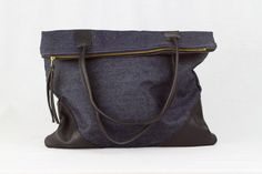 Large Leather + Denim Tote bag