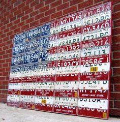 license plate flag art