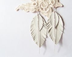 My DIY: Leather Feather Earrings in Snow White with by starryday