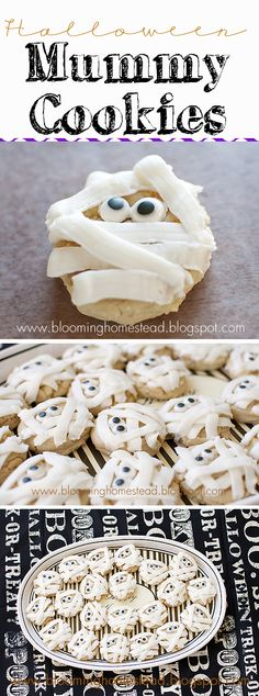 Mummy Cookies by Blooming Homestead- Perfect for any Halloween event, class party, or just fun at home! #halloween #cookies #halloweenrecipes #easyhalloweenrecipes #mummycookies #sugarcookies #halloweencookies #halloweenparty #classparties