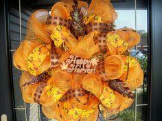 deco mesh fall harvest wreath #etsy lilmaddy12 $70