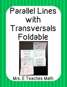 Parallel Lines with Transversals Foldable - great for interactive notebooks!