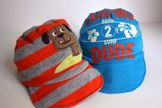 I could make Allie girlie ones!!!     -----diy baby boy hats... from ONESIES.