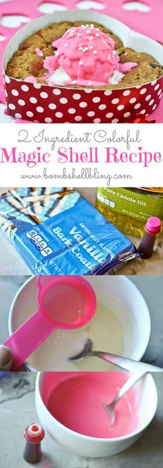 I love this two ingredient Colorful Magic Shell Recipe!  Cute cute and perfect for any event!