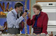 Graham Kerr and Julia Child toast to good food and cooking. How will you honor Julia Child on her 100th birthday? #CookForJulia