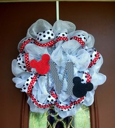 Mickey and Minnie Mouse Deco Mesh Wreath door by SweetBellaBaby, $85.00