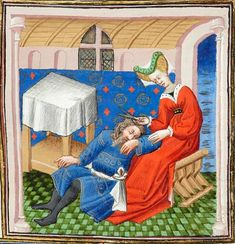 """Delilah Shearing Samson's Hair (detail), by the workshop of the Boucicaut Master. Bible historiale; France, Paris, ca. 1415–20. Pierpont Morgan Library, MS M.394, f. 112 (detail). From section 3: """"Luxury in a Time of Madness, 1390–1420."""""""