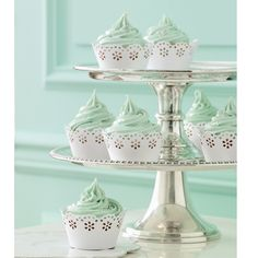 Mint Cupcakes Doily Lace Wrappers