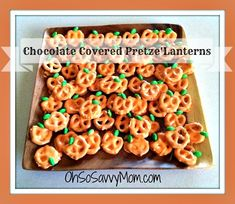 ... Treats - Chocolate Covered Pretzel Jack-o'-Lanterns - Oh So Savvy Mom