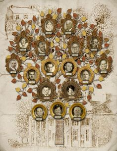 Family Tree Design - Couple with their Children, Parents and Grandparents with Building Sketches