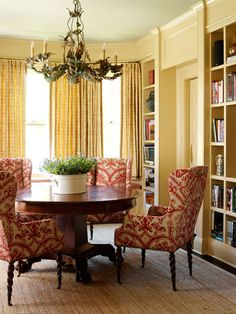 Love the chairs--dining room chairs fabric