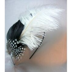 Black and White Ostrich Feather Fascinator Headband
