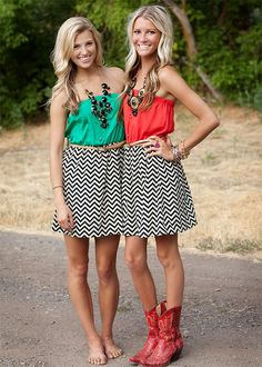 Love these! twin, skirt, cowboy boots, matching outfits, red boots, cloth, the dress, game day dresses, friend