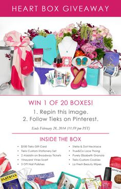 Giveaway: 20 Heart Boxes that include a $100 Tieks GC & treats that'll make your heart flutter!  (1) Repin this image,  (2) Follow Tieks on Pinterest: www.pinterest.com/tieks