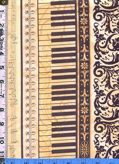 Fabric Clothworks MAESTRO Piano keyboard vertical stripe clef black parchment fleur de lis sheet music