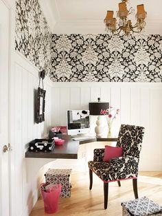 chair, office spaces, office desks, corner desk, corner office, black white, pink, homes, home offices
