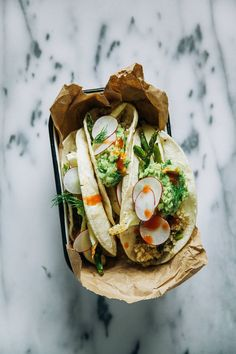 spring veggie tacos with quinoa.