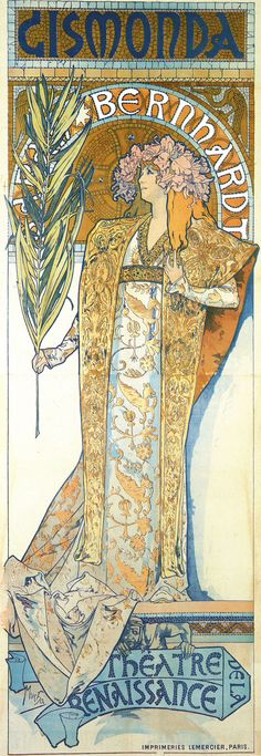"""Sarah Bernhardt and Mucha's fate: """"The story goes that Mucha was toiling away correcting proofs at Lemercier's printing works around Christmas 1894 when Bernhardt's agent inquired with an immediate need for a poster advertising her next production. Because all of Lemercier's artists were on vacation, Mucha volunteered and in less than two weeks he created the poster for Gismonda.""""  (http://www.codex99.com/design/85.html#) 