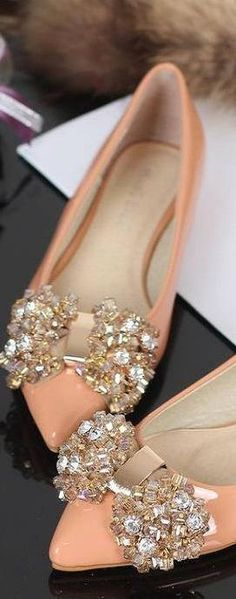 Prada crystal bow ballet flats in peach pink ♥✤