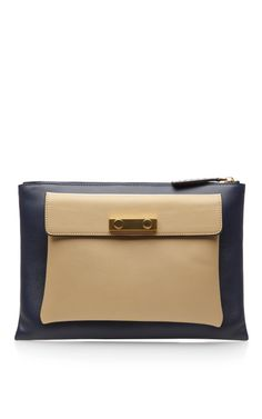 Two-Tone Zip Top Leather Clutch by Marni