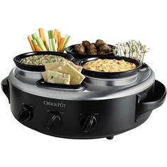 lazy susan, crock pots, crockpot, gadget, food, tripl dipper, kitchen, parti, stainless steel