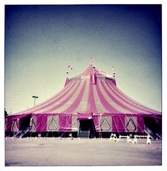 Pink striped tent